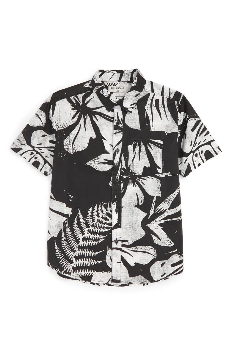 BILLABONG Tropics Short Sleeve Woven Shirt, Main, color, 001