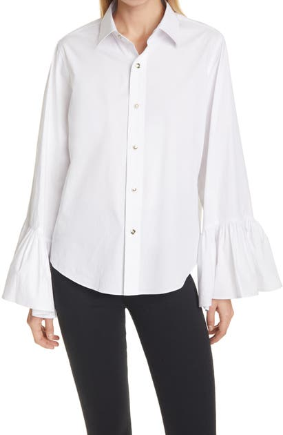 Tanya Taylor ALENA RUFFLE SLEEVE BUTTON-UP BLOUSE