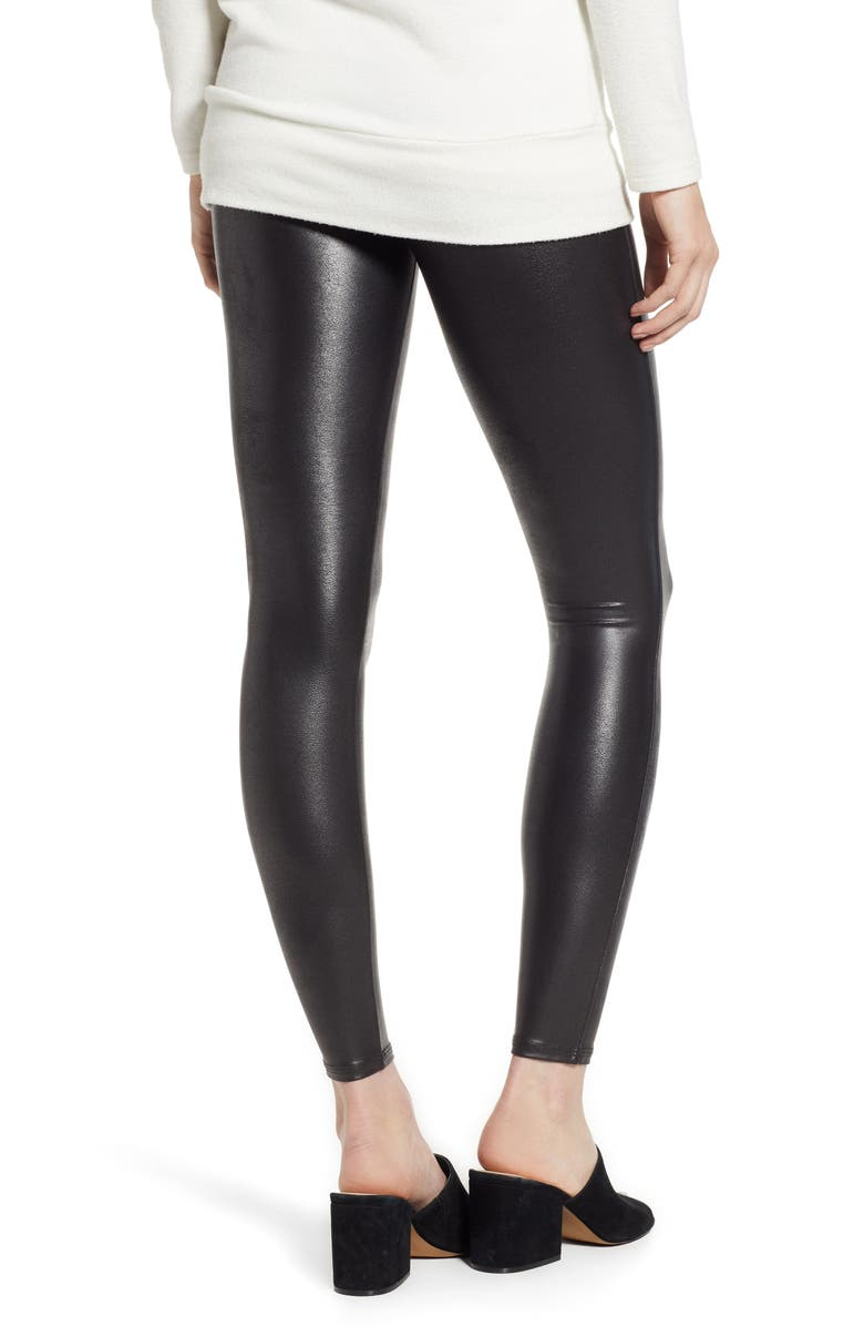SPANX<SUP>®</SUP> Faux Leather Leggings, Alternate, color, BLACK