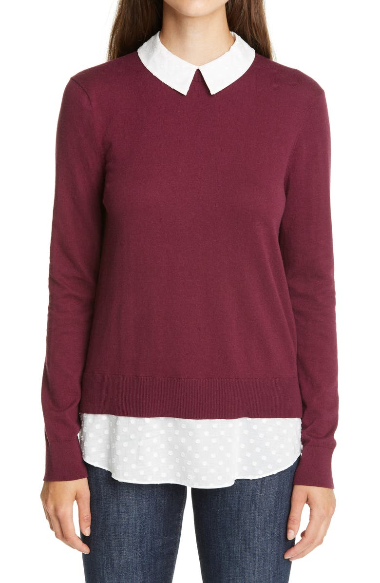 TED BAKER LONDON Ohlin Mixed Media Layered Sweater, Main, color, OXBLOOD