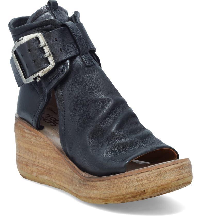 A.S.98 Naya Wedge Sandal, Main, color, BLACK