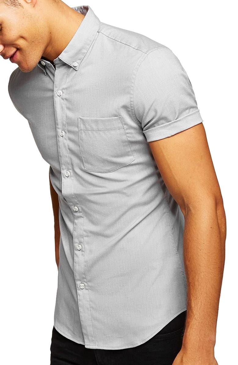 TOPMAN Stretch Oxford Shirt, Main, color, GREY
