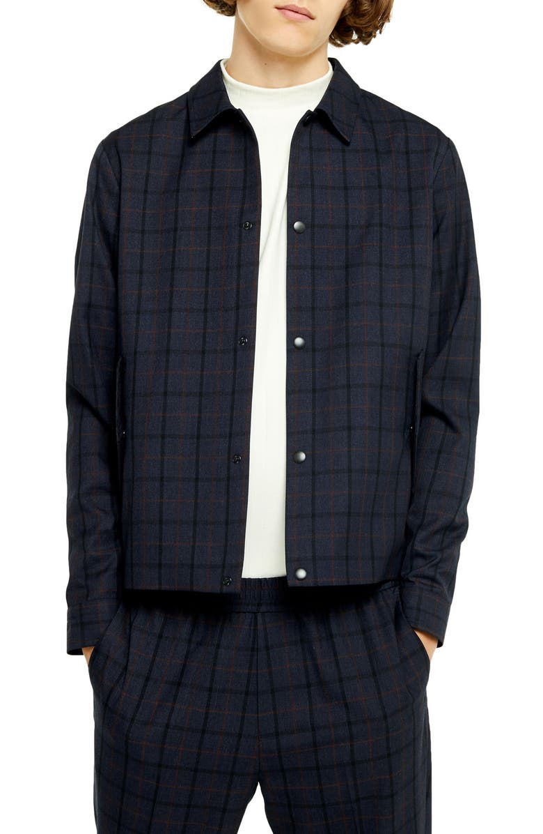TOPMAN Karl Classic Fit Plaid Snap-Up Jacket, Main, color, NAVY BLUE