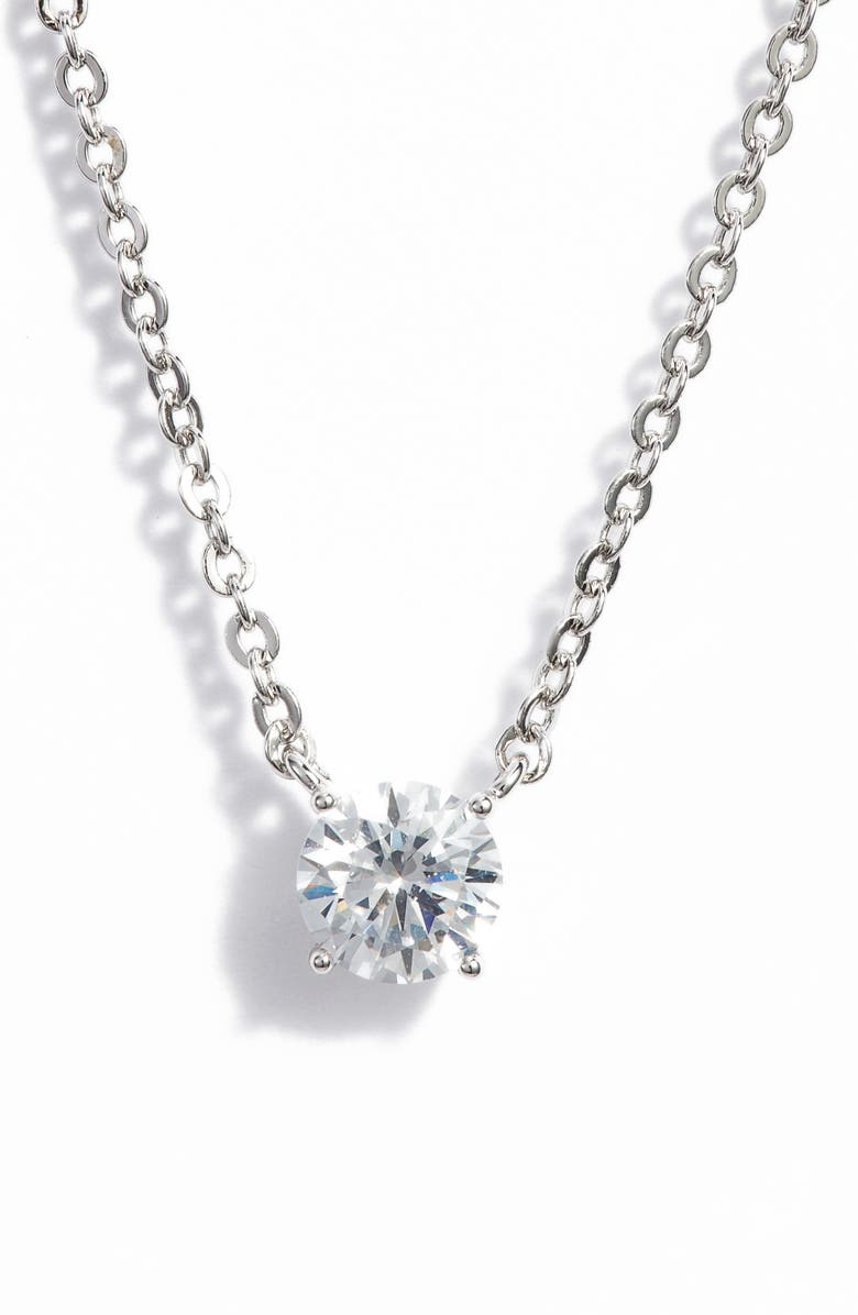 NORDSTROM Cubic Zirconia Pendant Necklace, Main, color, CLEAR- SILVER