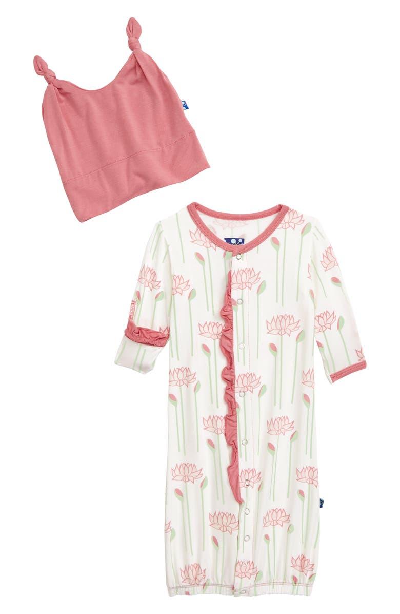 4e4be3c22 Lotus Flower Convertible Gown & Hat Set, Main, color, NATURAL LOTUS FLOWER