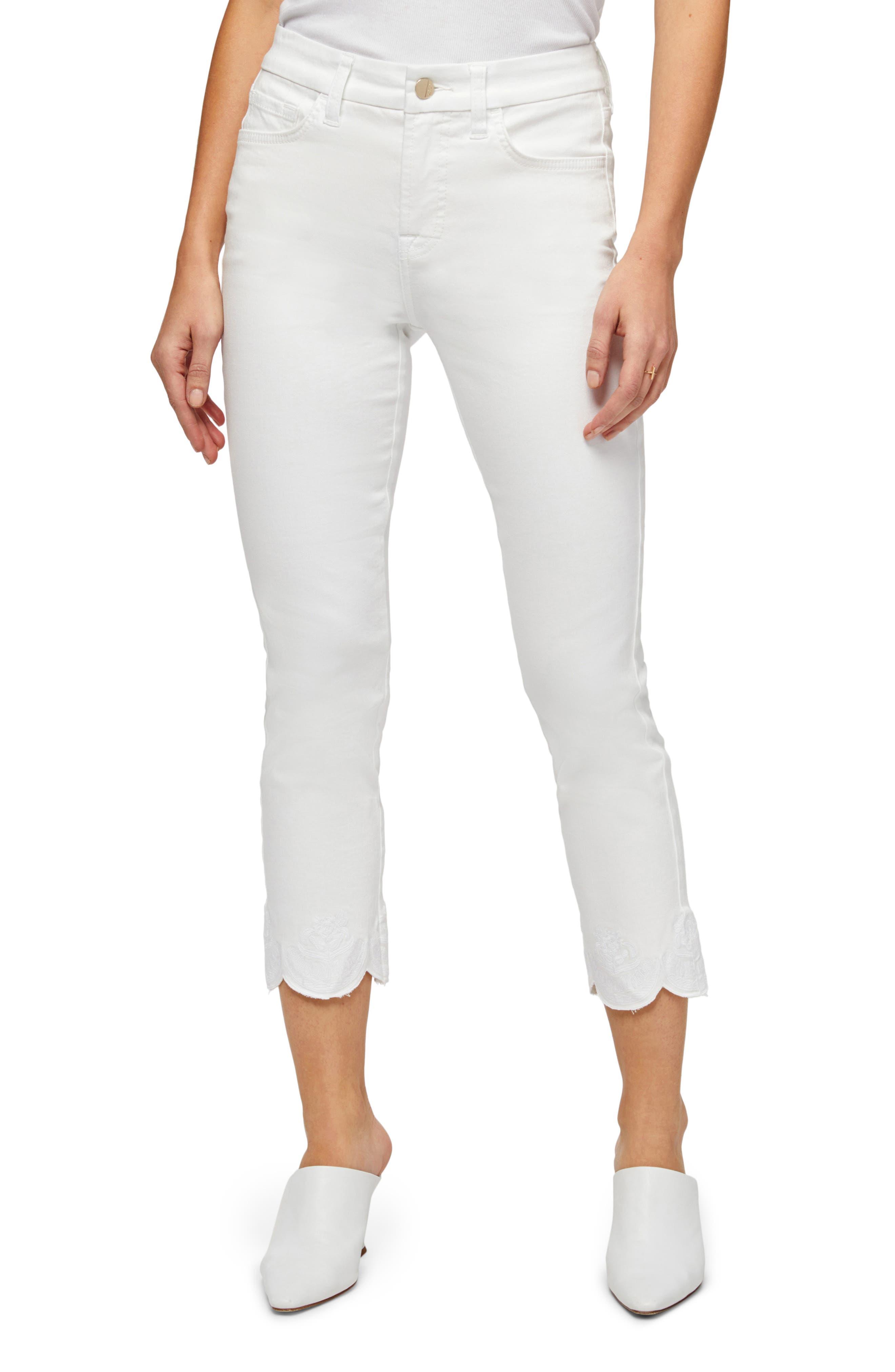 Embroidered Scallop Hem Crop Straight Leg Jeans