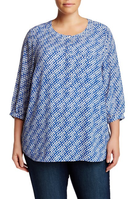 Image of NYDJ 3/4 Length Sleeve Abstract Basket Weave Blouse