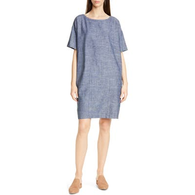 Petite Eileen Fisher Hemp & Organic Cotton Shift Dress, Blue