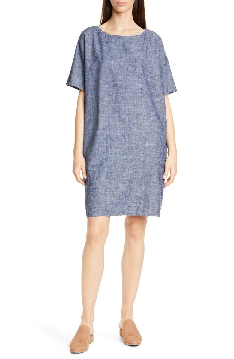 EILEEN FISHER Hemp & Organic Cotton Shift Dress, Main, color, 480