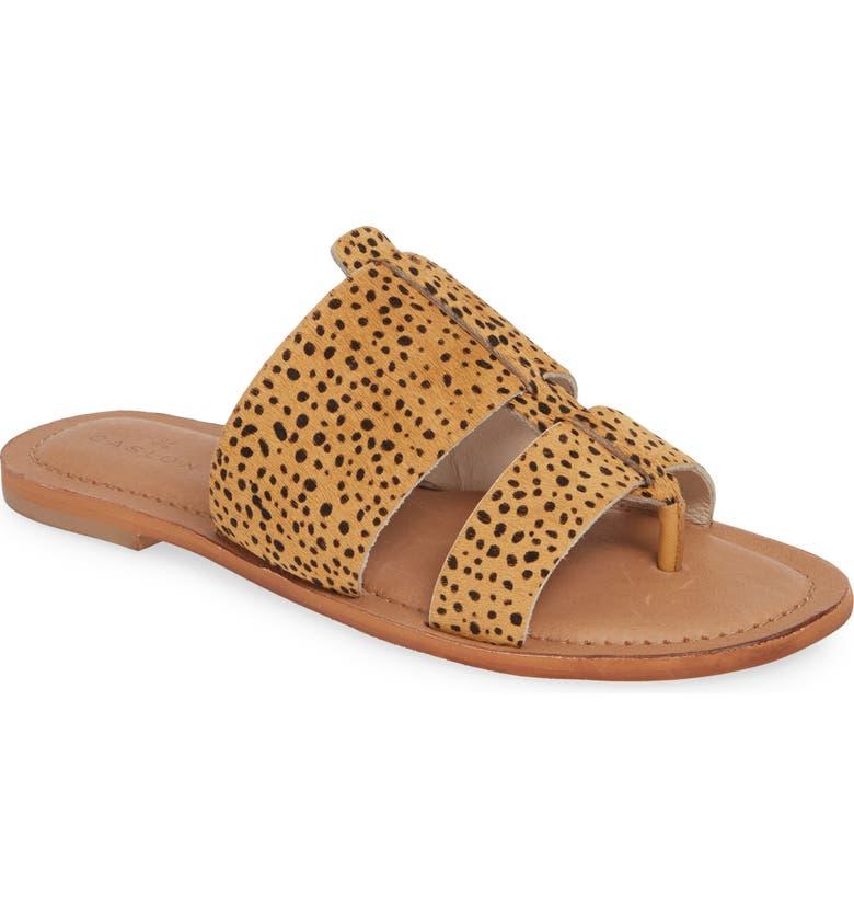 CASLON<SUP>®</SUP> Mateo Genuine Calf Hair Slide Sandal, Main, color, CHEETAH PRINTED CALF HAIR
