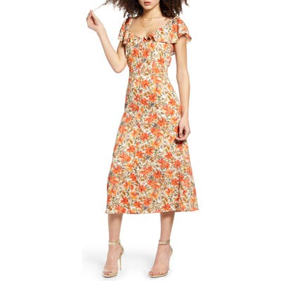 All In Favor Print Button Front Dress, Beige