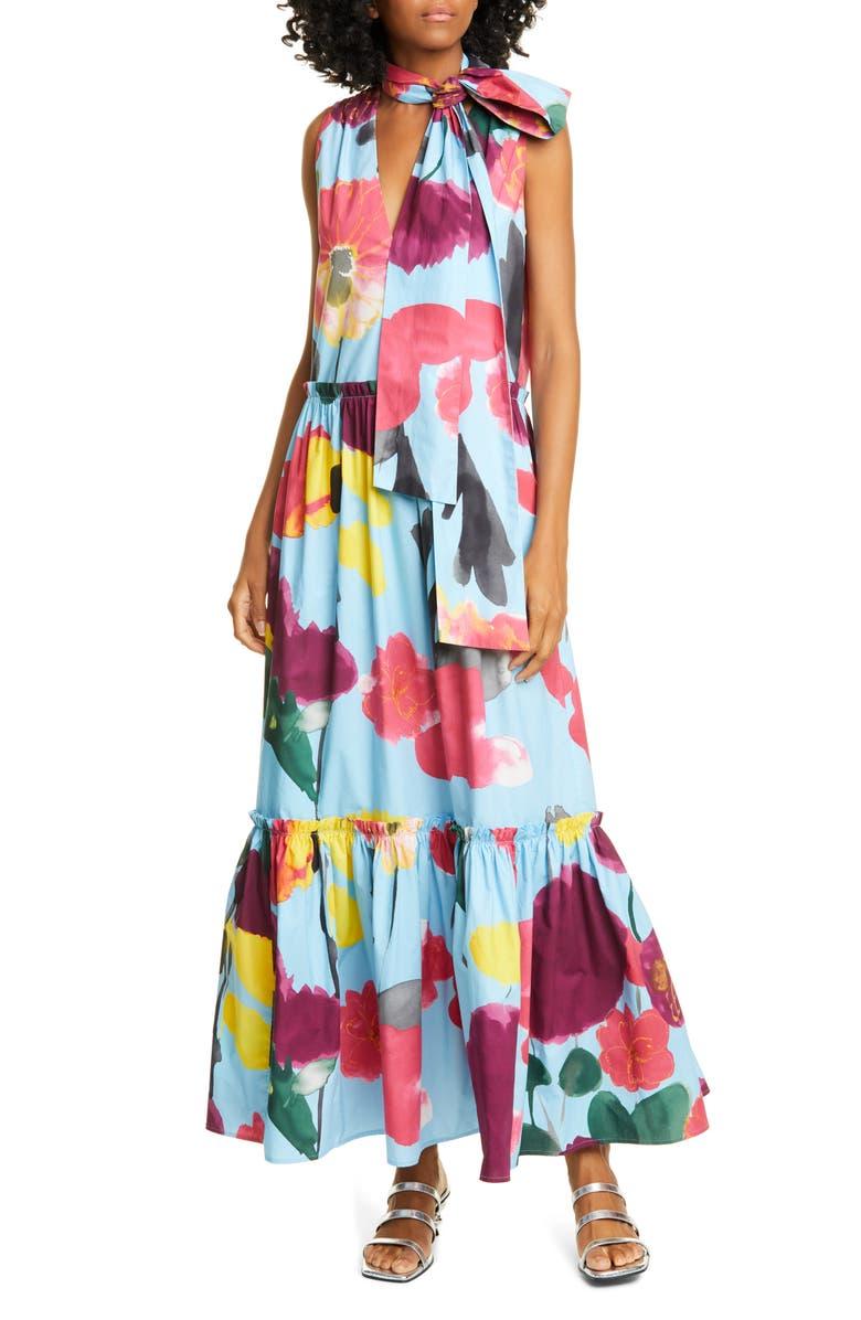 LA DOUBLEJ Lou Lou Floral Tie Neck Cotton Maxi Dress, Main, color, PROM AZZURRO