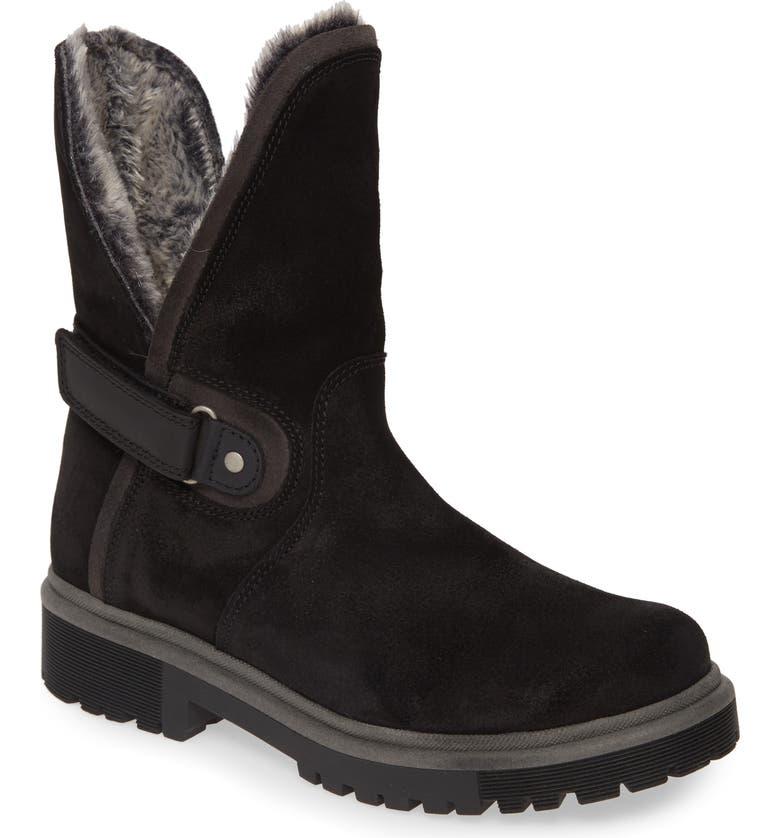 BOS. & CO. Aden Faux Fur Waterproof Boot, Main, color, BLACK/ GREY SUEDE