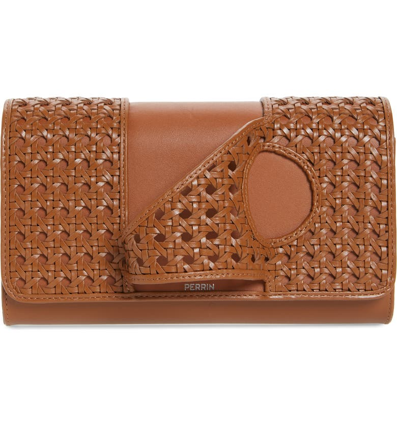 PERRIN L'Asymtrique Leather Clutch, Main, color, CANE/ CARAMEL