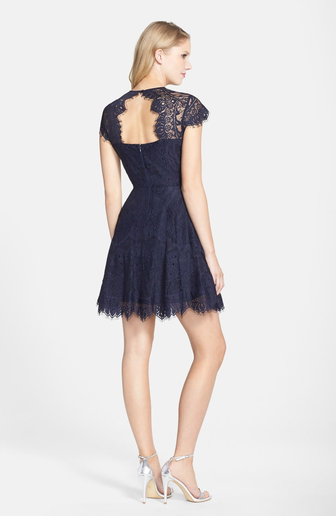 ,                             Rhianna Open Back Lace Fit & Flare Cocktail Dress,                             Alternate thumbnail 3, color,                             418