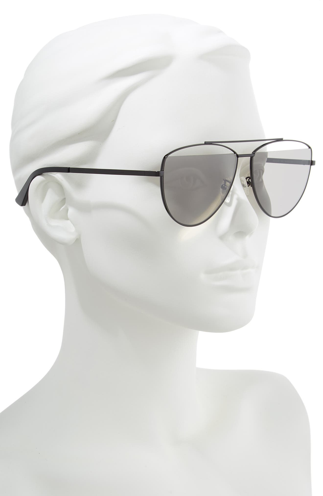 ,                             61mm Aviator Sunglasses,                             Alternate thumbnail 2, color,                             BLACK/ GREY