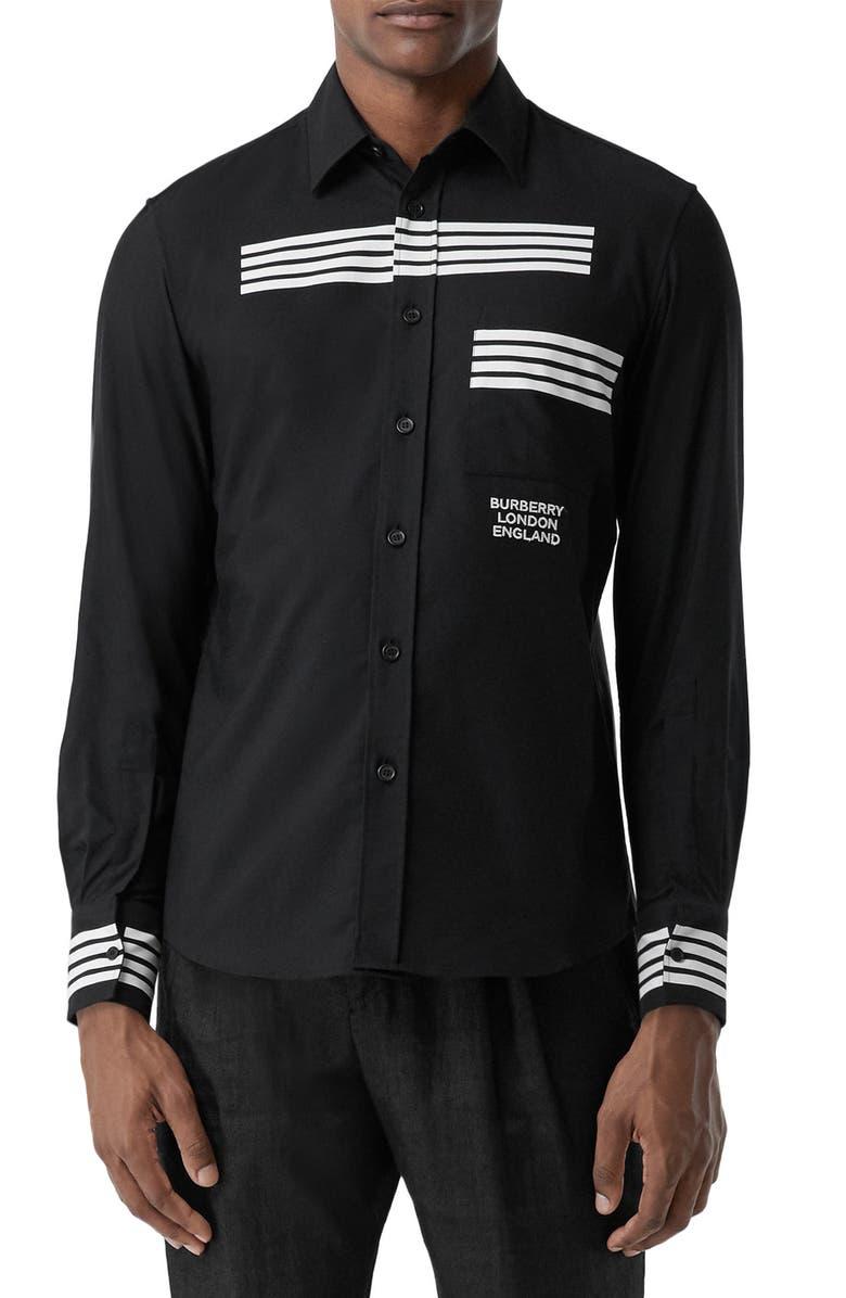 BURBERRY Coleherne Stripe Detail Long Sleeve Button-Up Shirt, Main, color, BLACK