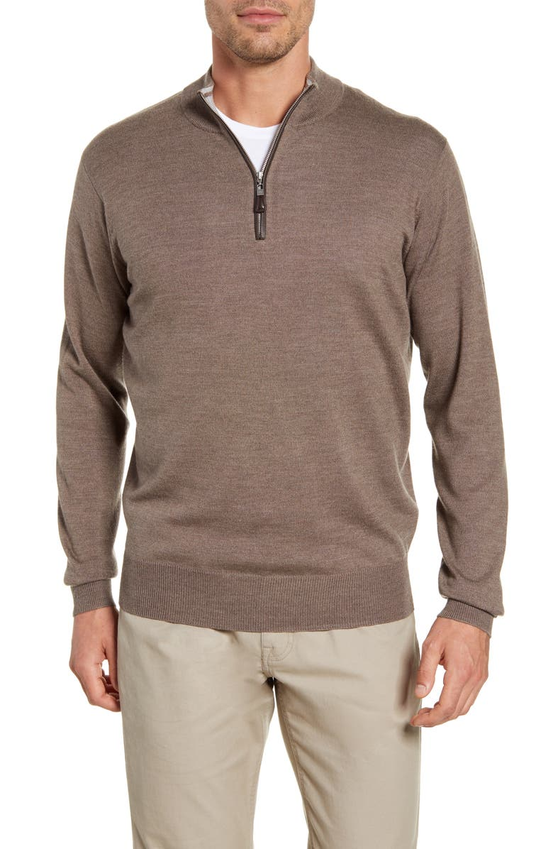 PETER MILLAR Crown Soft Wool Blend Quarter Zip Sweater, Main, color, 201