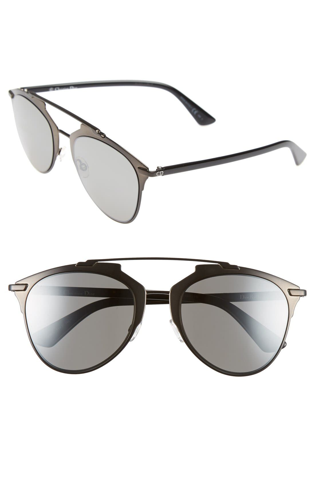 Reflected 52mm Brow Bar Sunglasses, Main, color, 001