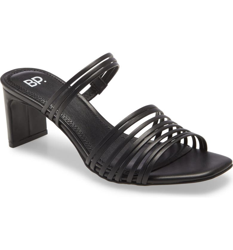 BP. Brittany Strappy Slide Sandal, Main, color, BLACK FAUX LEATHER