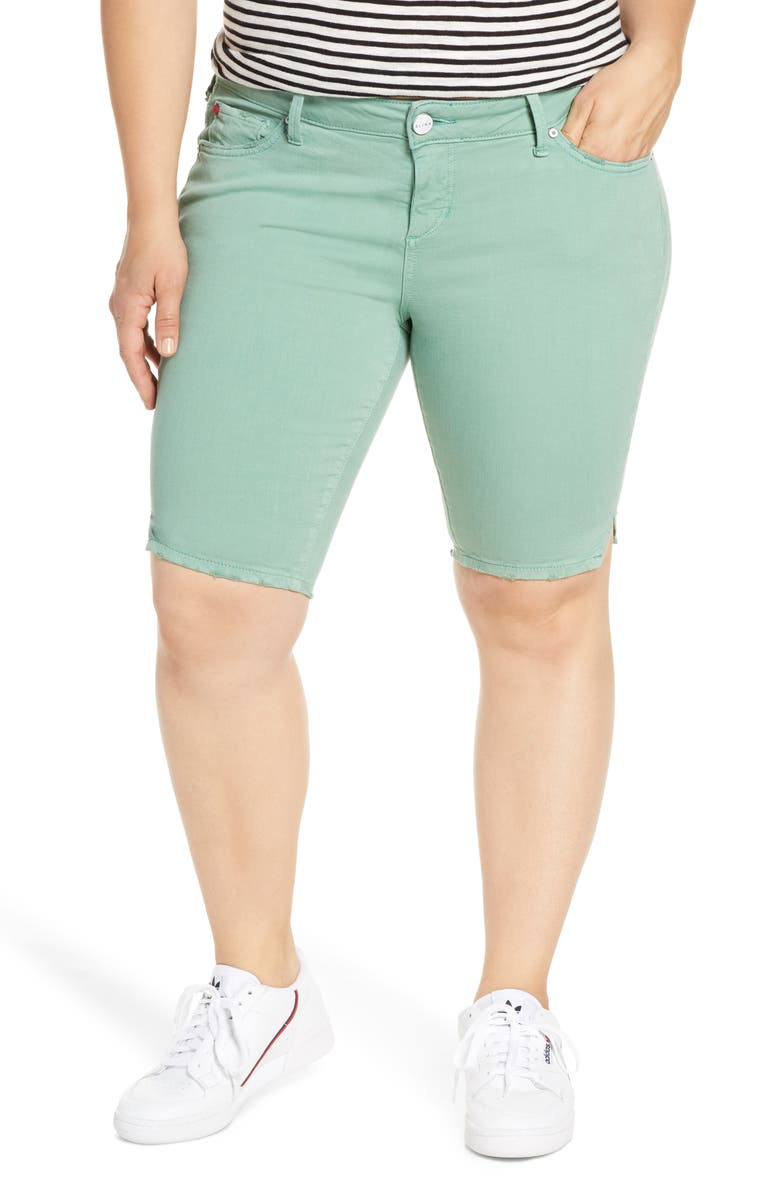 SLINK JEANS Notch Detail Stretch Cotton Blend Bermuda Shorts, Main, color, LEAF
