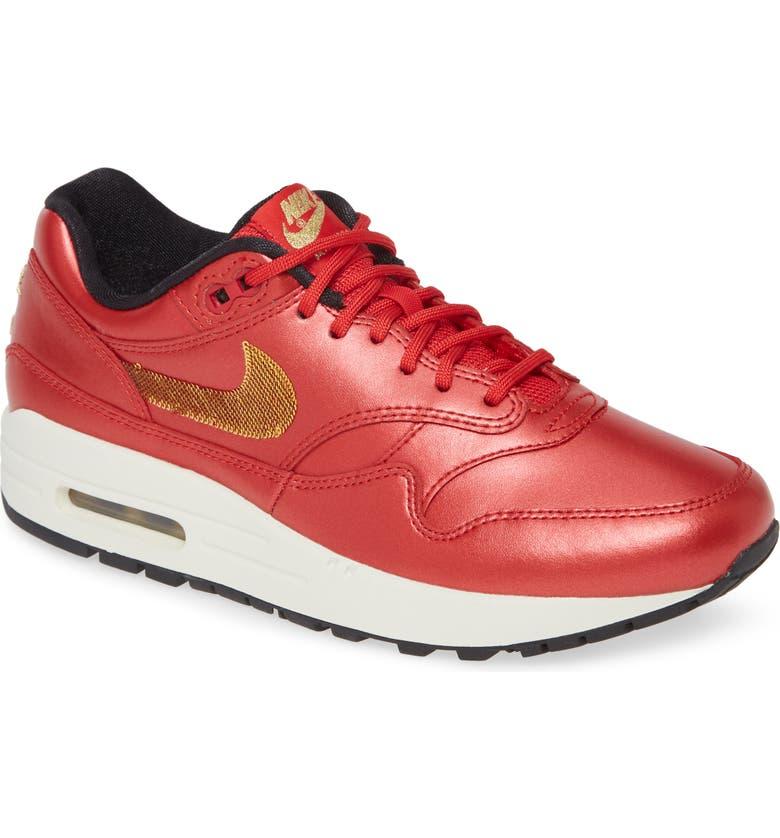 NIKE Air Max 1 Sneaker, Main, color, RED/ METALLIC GOLD/ BLACK