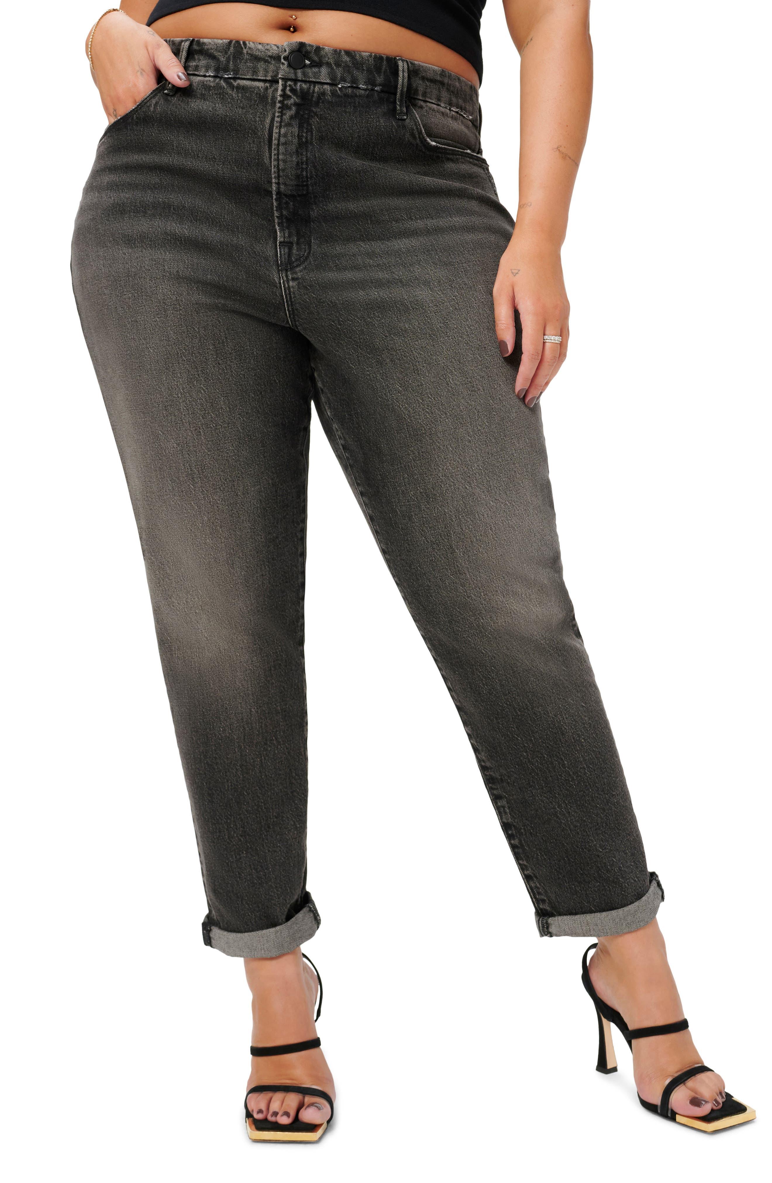 Plus Women's Good American Good Girlfriend High Waist Straight Leg Jeans