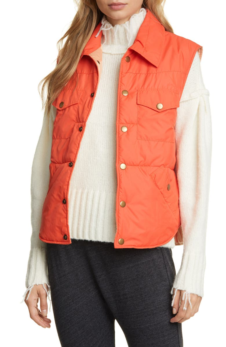 NSF CLOTHING Aida Quilted Puffer Vest, Main, color, ORANGE