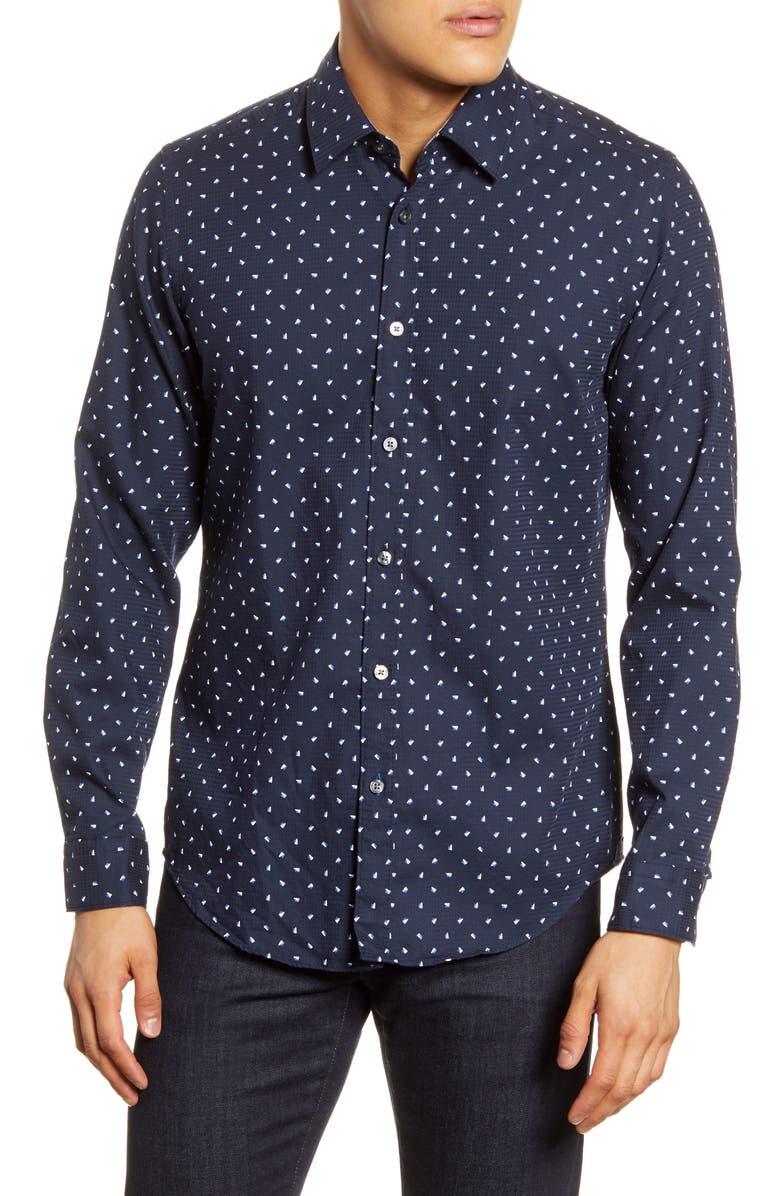 BOSS Lukas Regular Fit Print Button-Up Shirt, Main, color, DARK BLUE