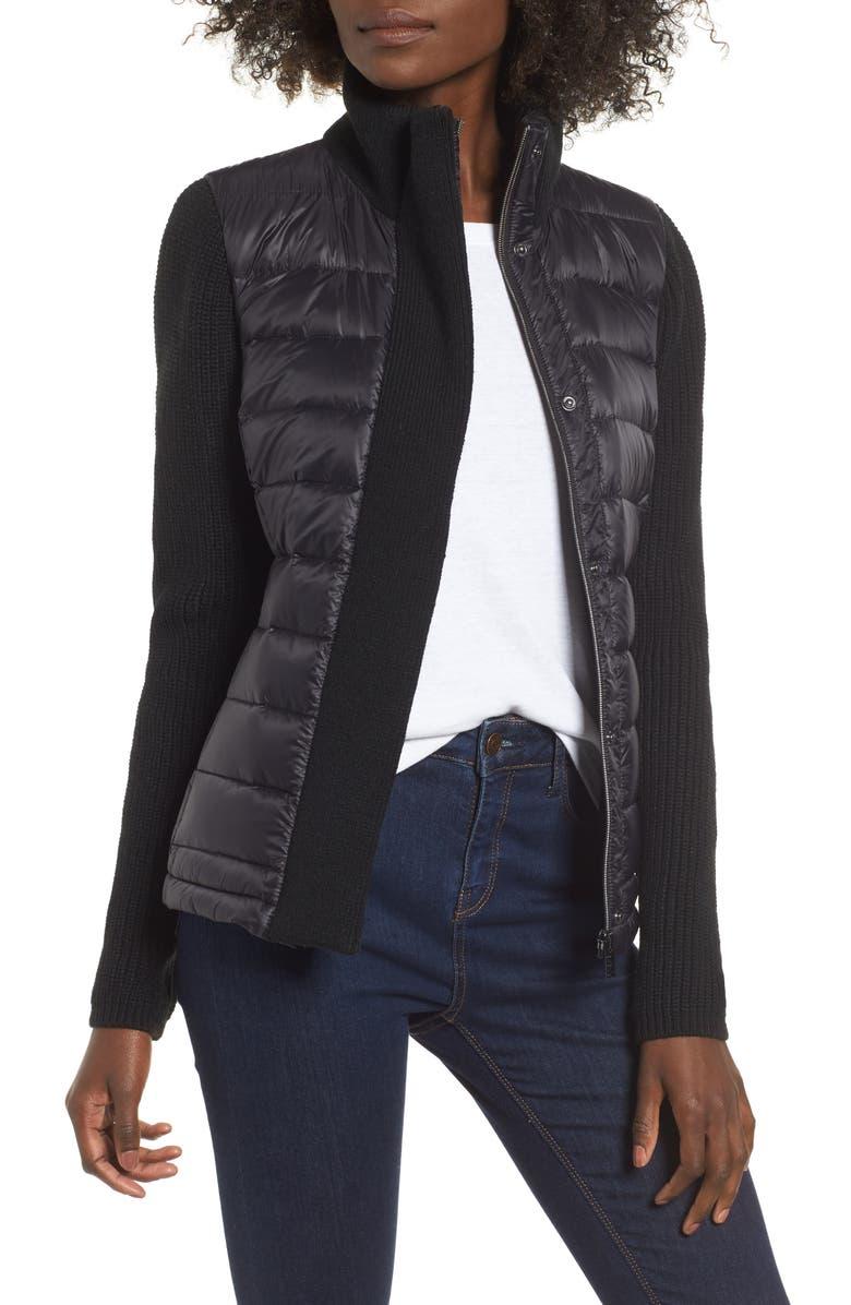 MARC NEW YORK Mark New York Packable Knit Trim Puffer Jacket, Main, color, BLACK/ BLACK