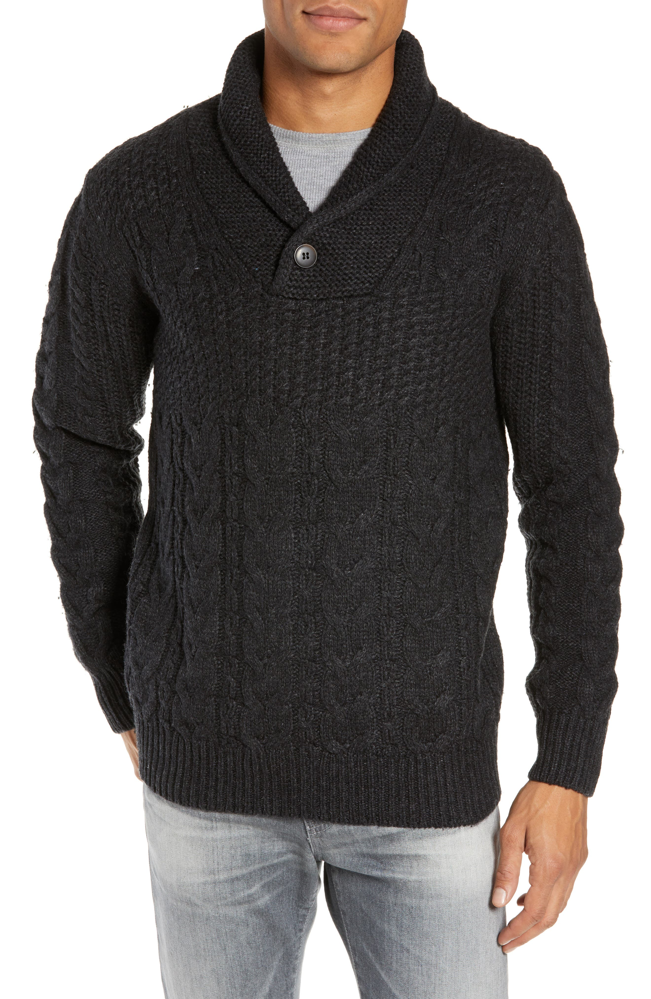Schott Nyc Cable Knit Wool Blend Fisherman Sweater