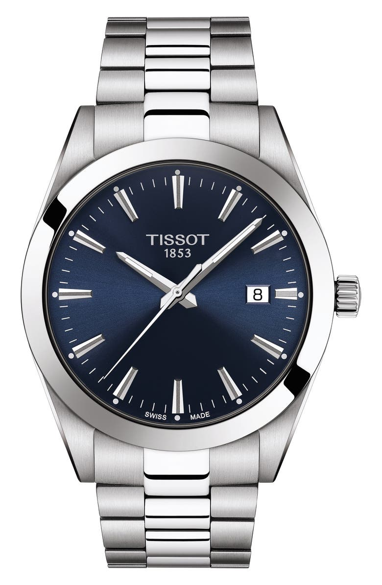 TISSOT T-Classic Gentleman Bracelet Watch, 40mm, Main, color, GREY/ BLUE/ SILVER