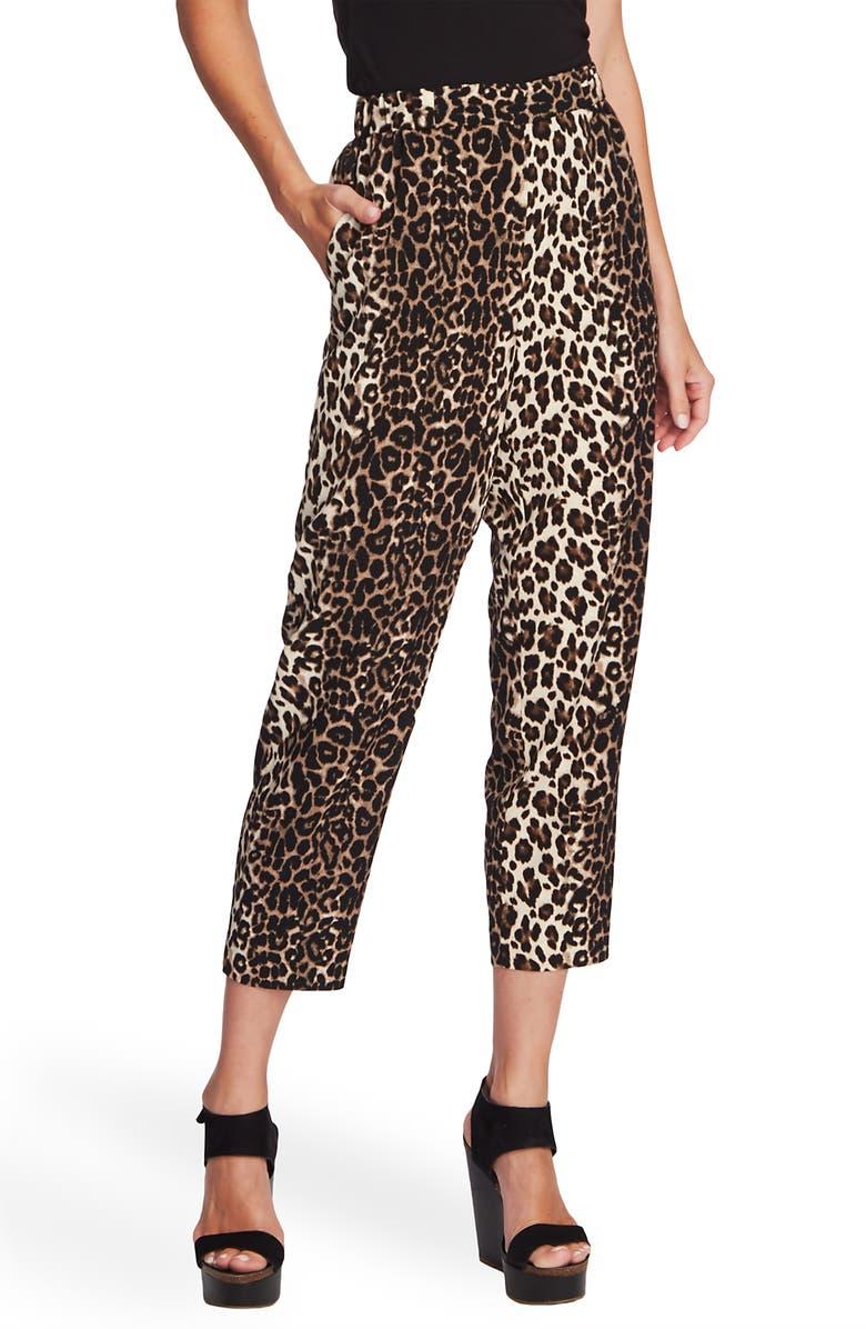 VINCE CAMUTO Elegant Stripe Leopard Crop Pants, Main, color, RICH BLACK