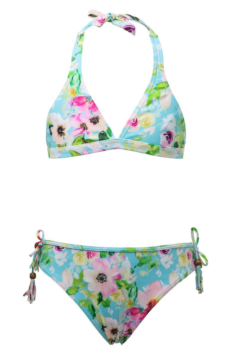 SNAPPER ROCK Watercolor Floral Two-Piece Halter Swimsuit, Main, color, WATERCOLOR FLORAL