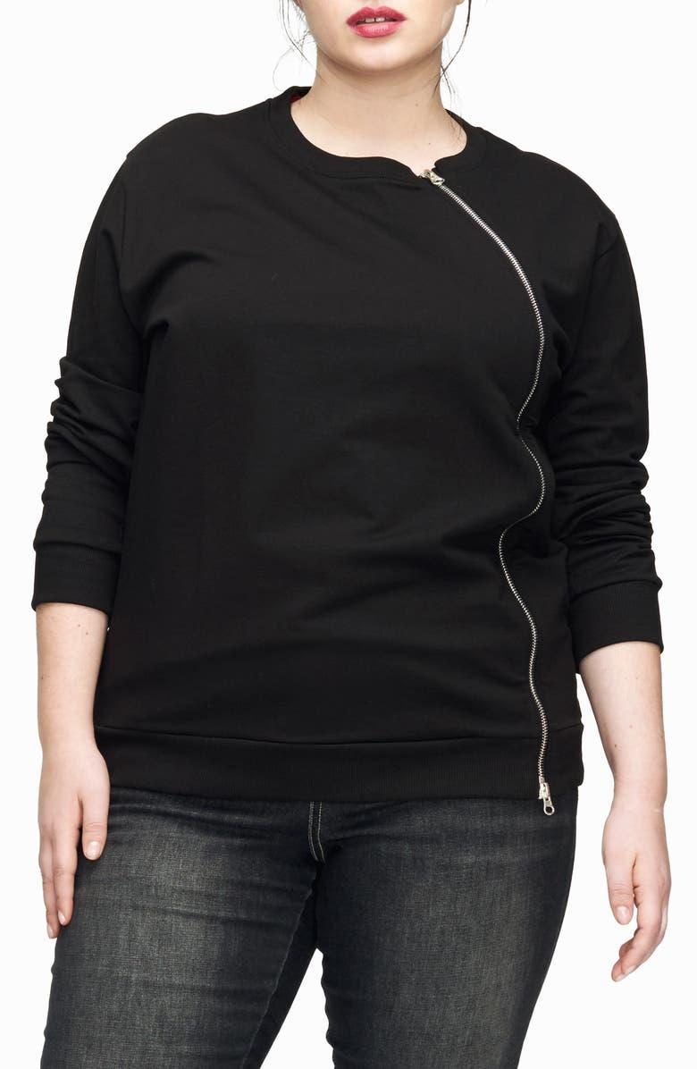 UNIVERSAL STANDARD Meridian Zip Front Sweatshirt, Main, color, 001