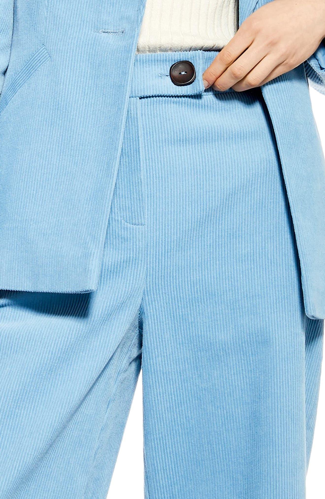 ,                             Crop Wide Leg Corduroy Trousers,                             Alternate thumbnail 4, color,                             BLUE