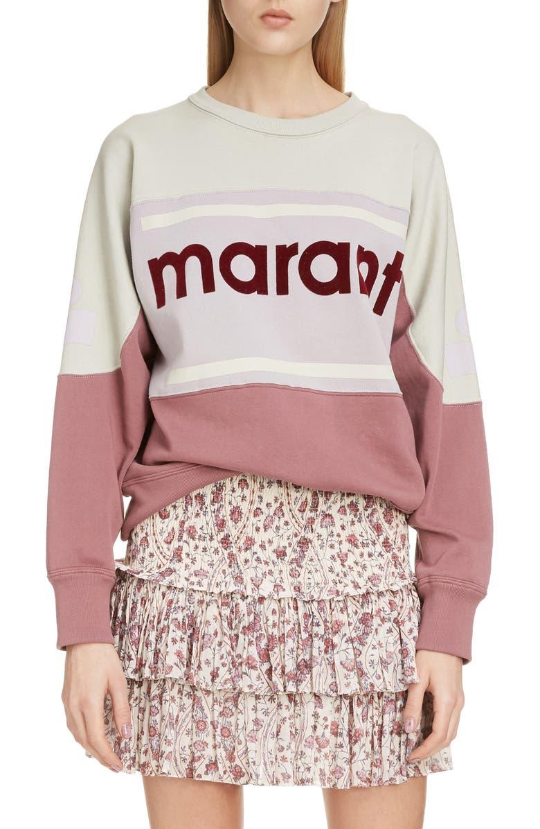 ISABEL MARANT ÉTOILE Gallian Logo Sweatshirt, Main, color, ROSEWOOD