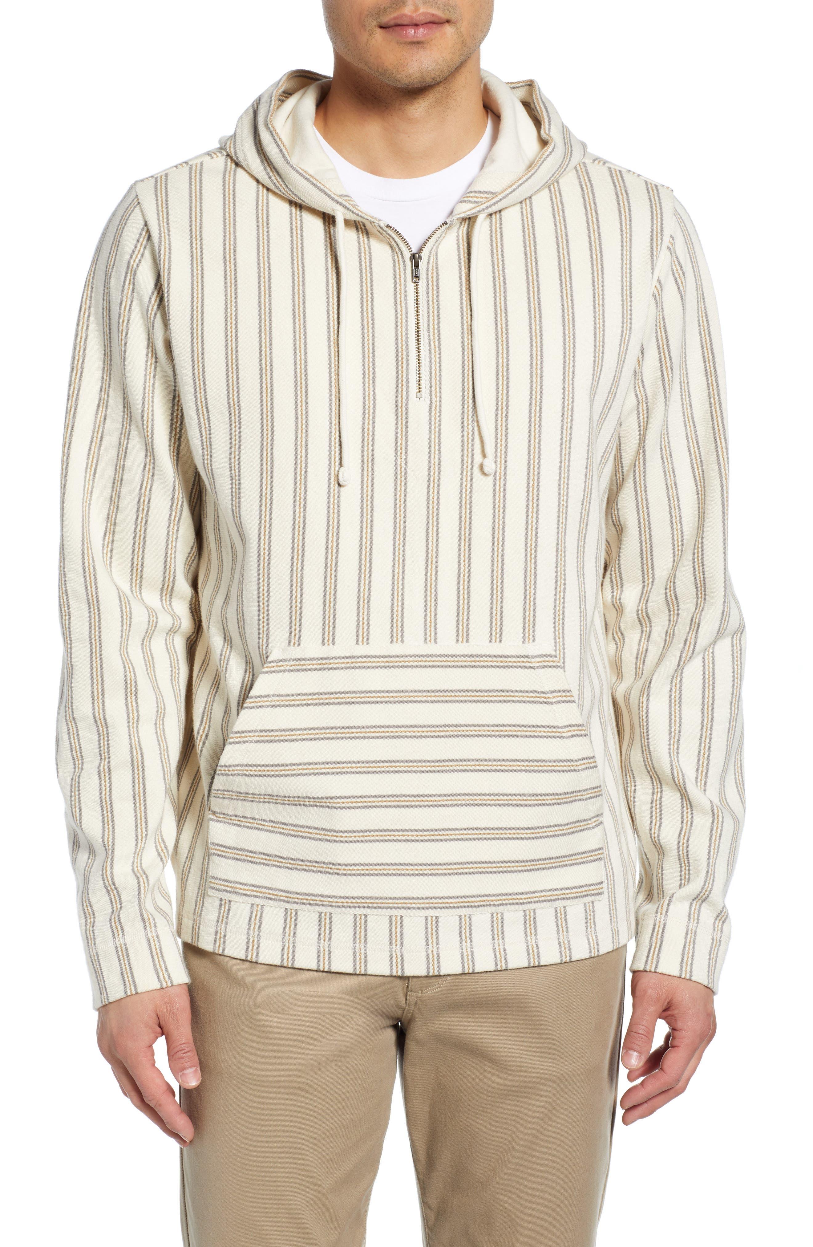 Stripe Slim Fit Half Zip Hoodie, Main, color, SAIL/ DOVE GREY
