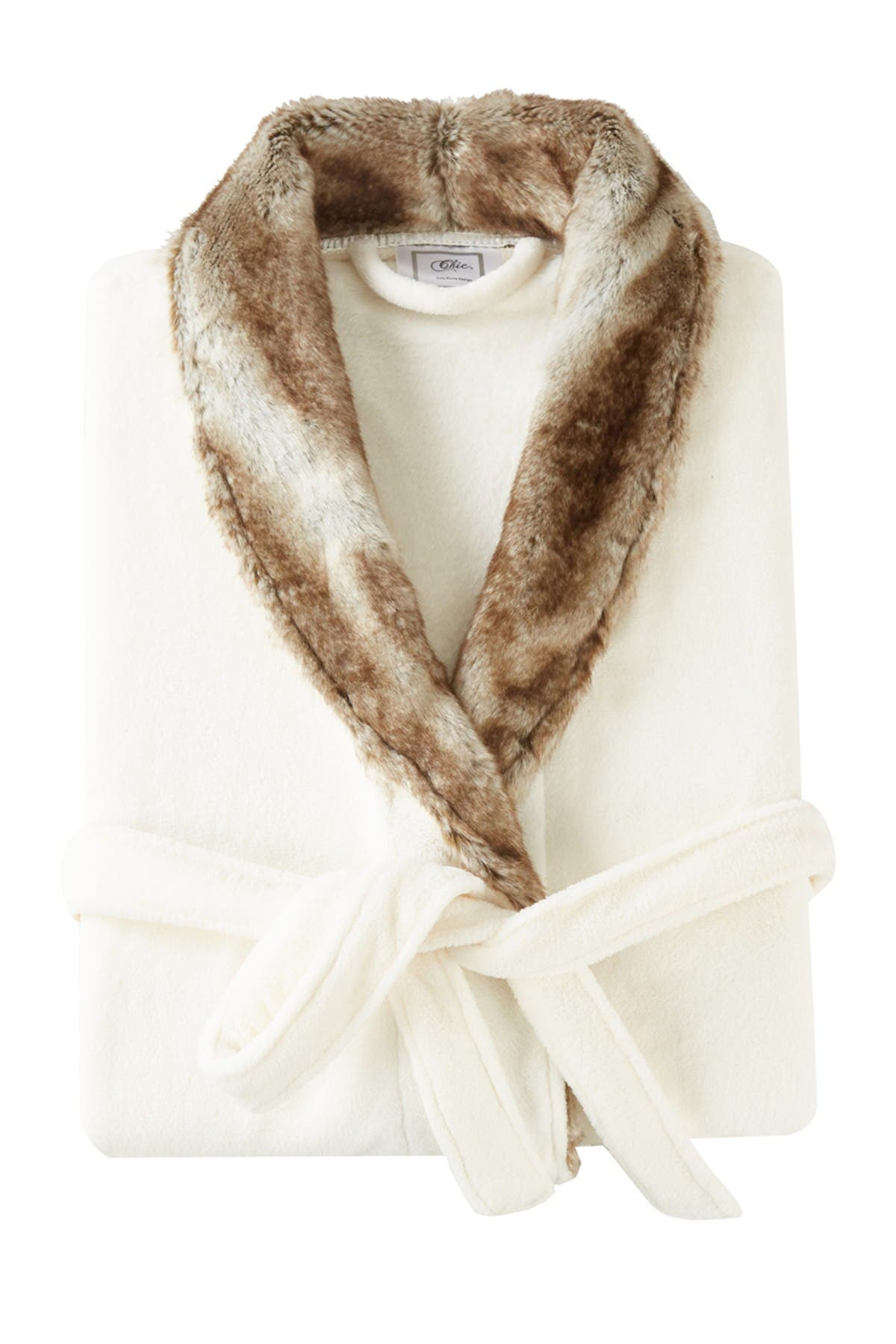 Chic Home Bedding Rolo Faux Fur Trim Robe - Brown at Nordstrom Rack
