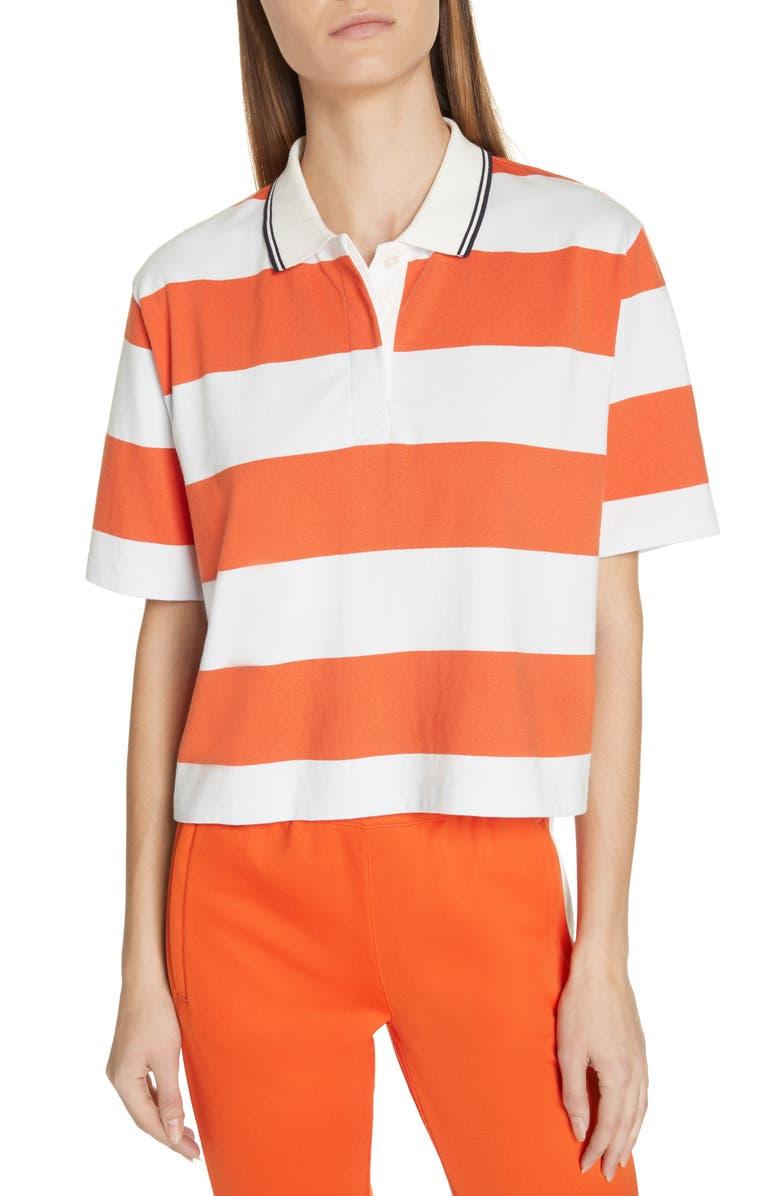 TORY SPORT Stripe Crop Polo, Main, color, BROAD STRIPE VARSITY ORANGE