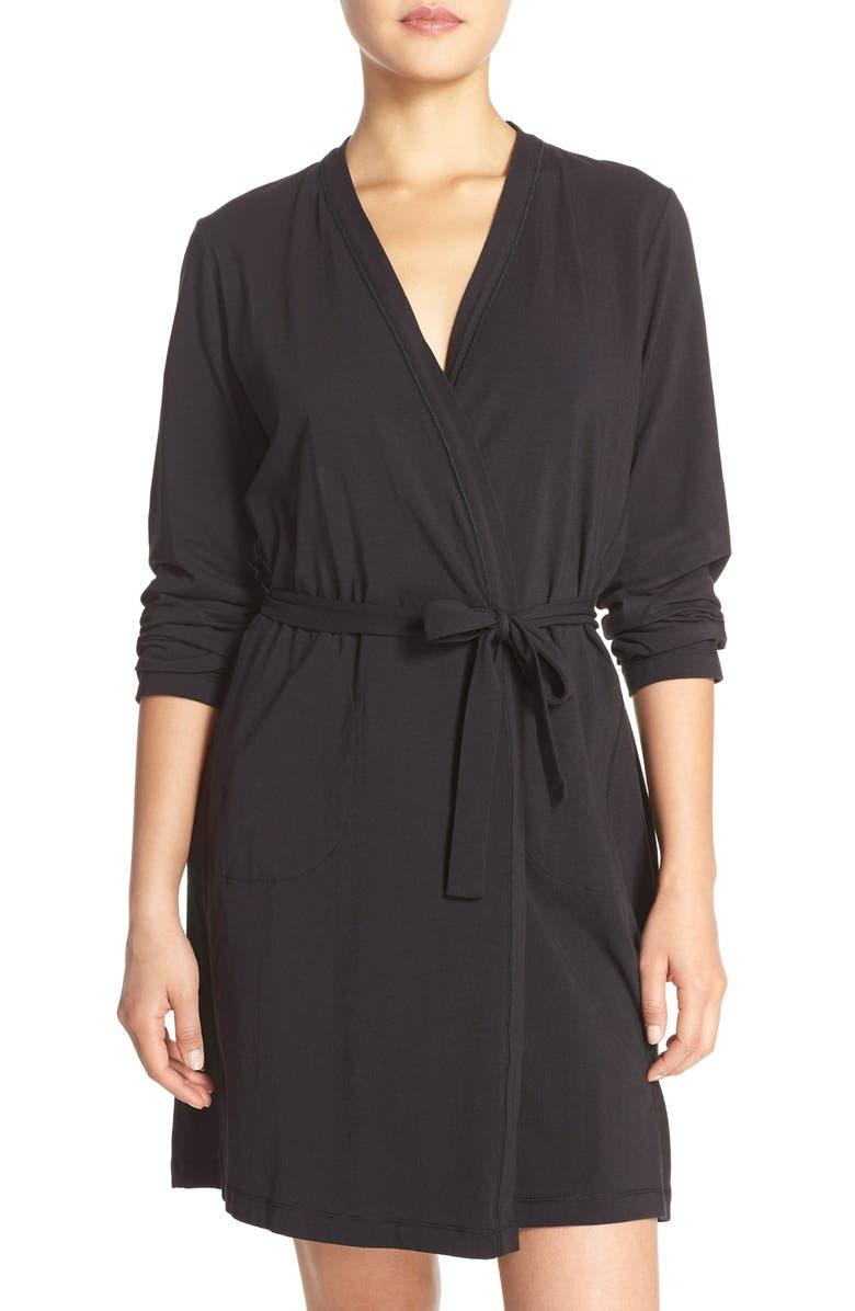 DKNY Stretch Pima Cotton Short Robe, Main, color, 001