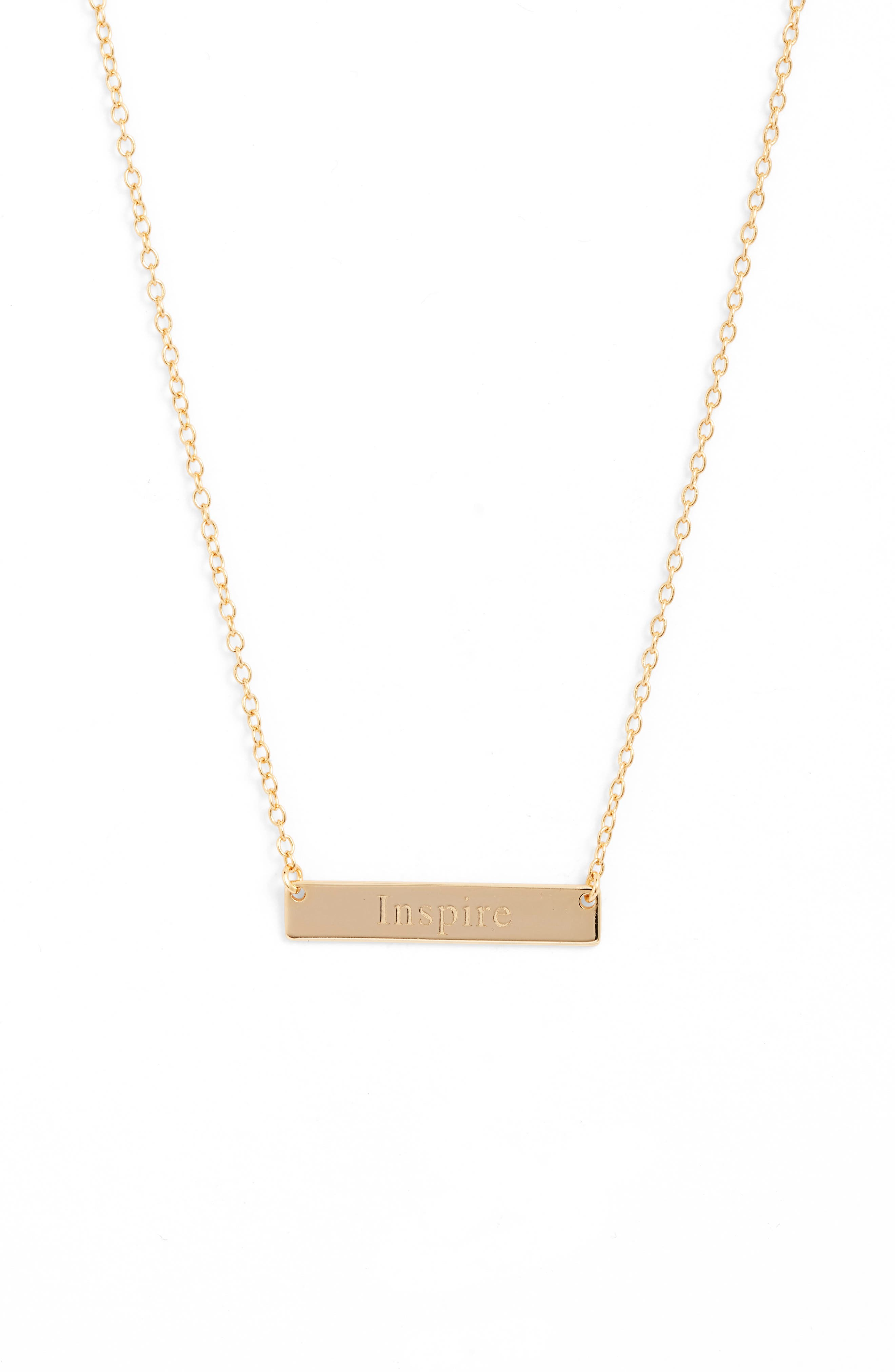 A simple design featuring a gleaming bar pendant embossed with an inspiring message defines this understated necklace. Style Name: Sterling Forever Inspire Bar Pendant Necklace. Style Number: 5904771. Available in stores.