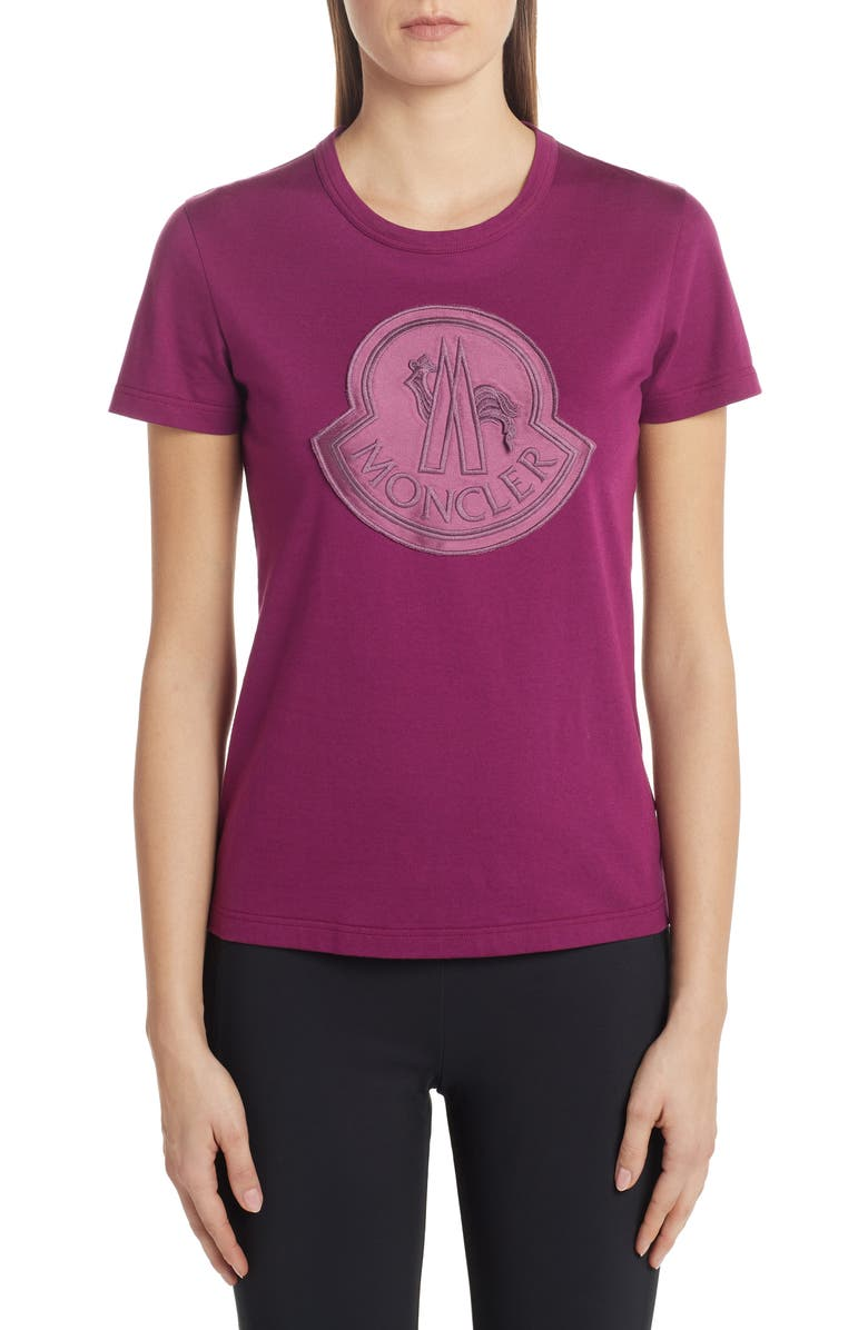 MONCLER Monochromatic Logo Tee, Main, color, PURPLE