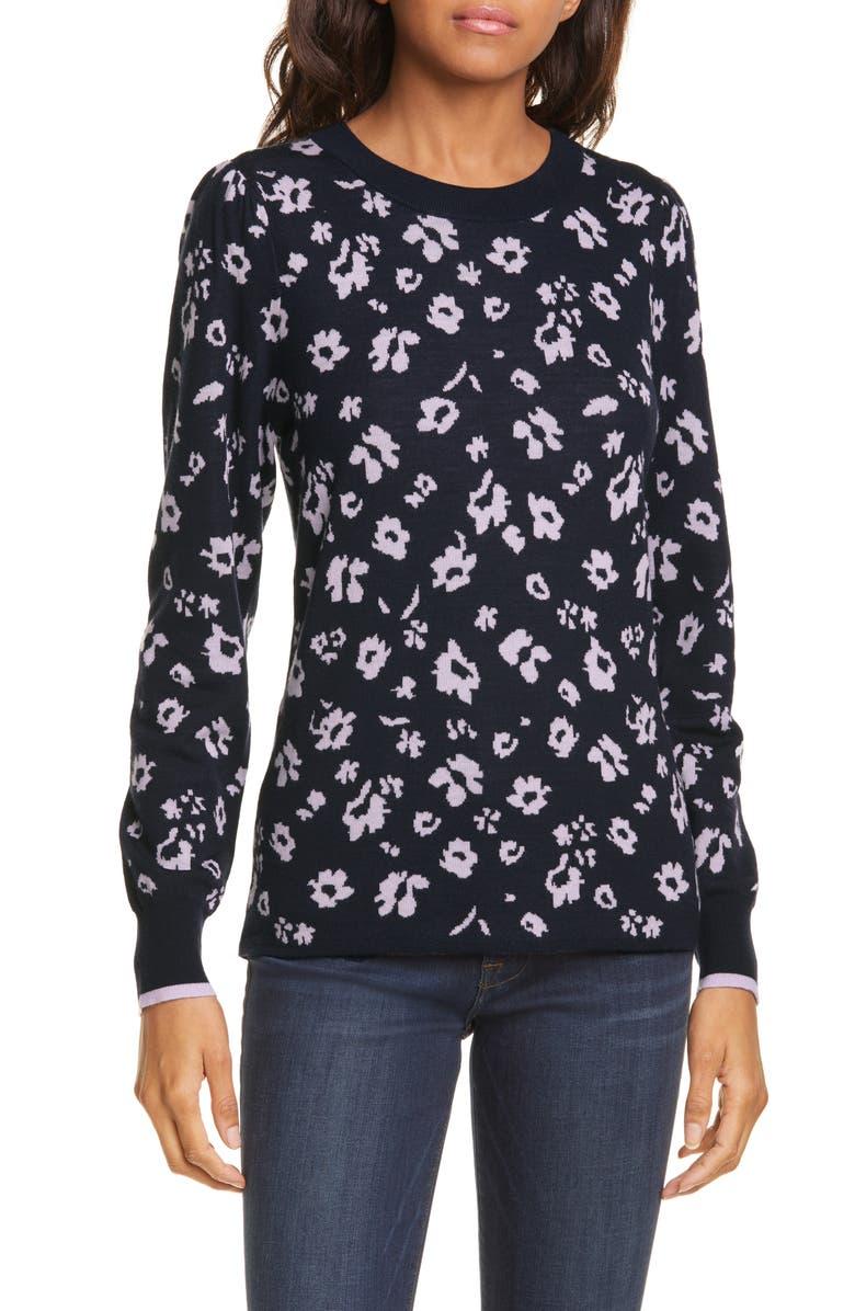 REBECCA TAYLOR Floral Intarsia Merino Wool Pullover, Main, color, DARK NAVY COMBO