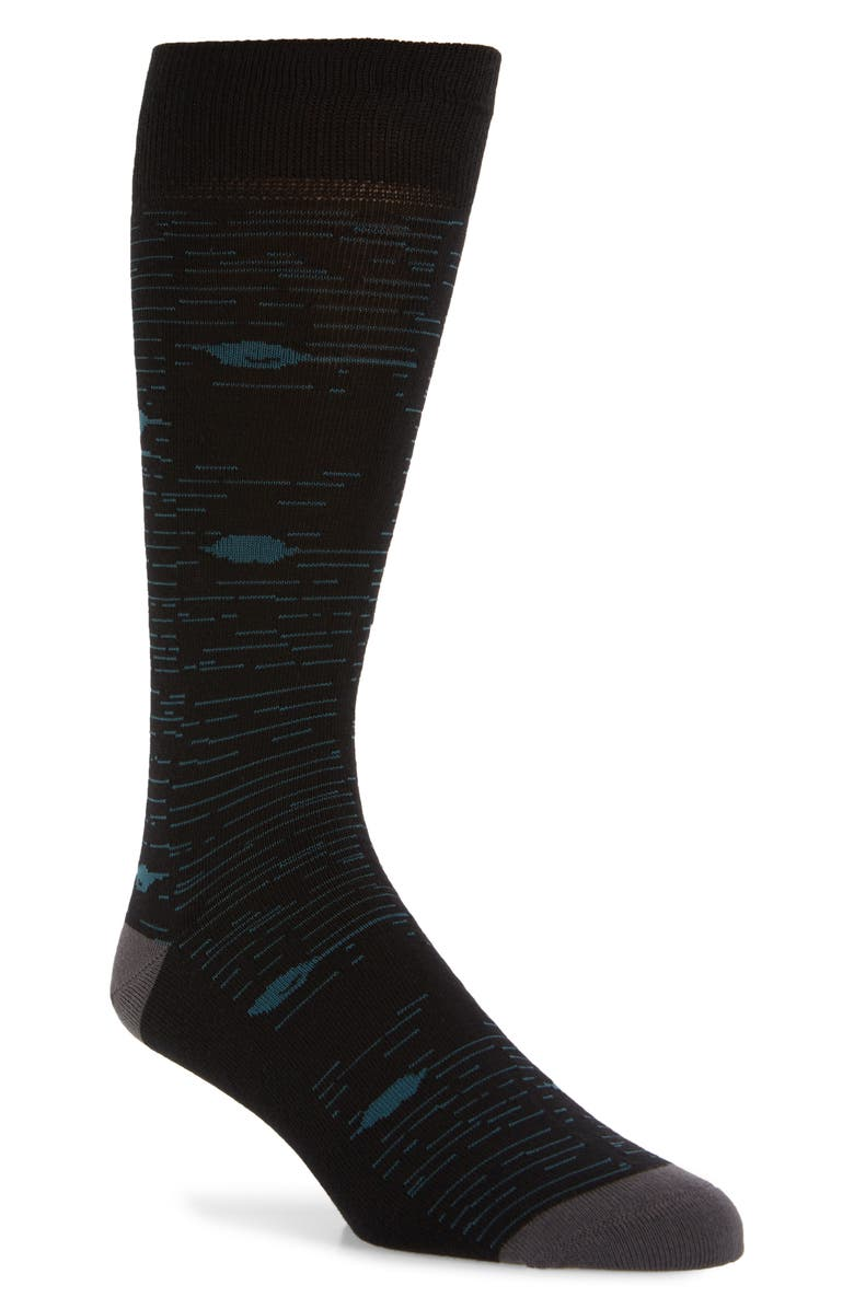 NORDSTROM MEN'S SHOP Static Stripe Socks, Main, color, BLACK/ TEAL