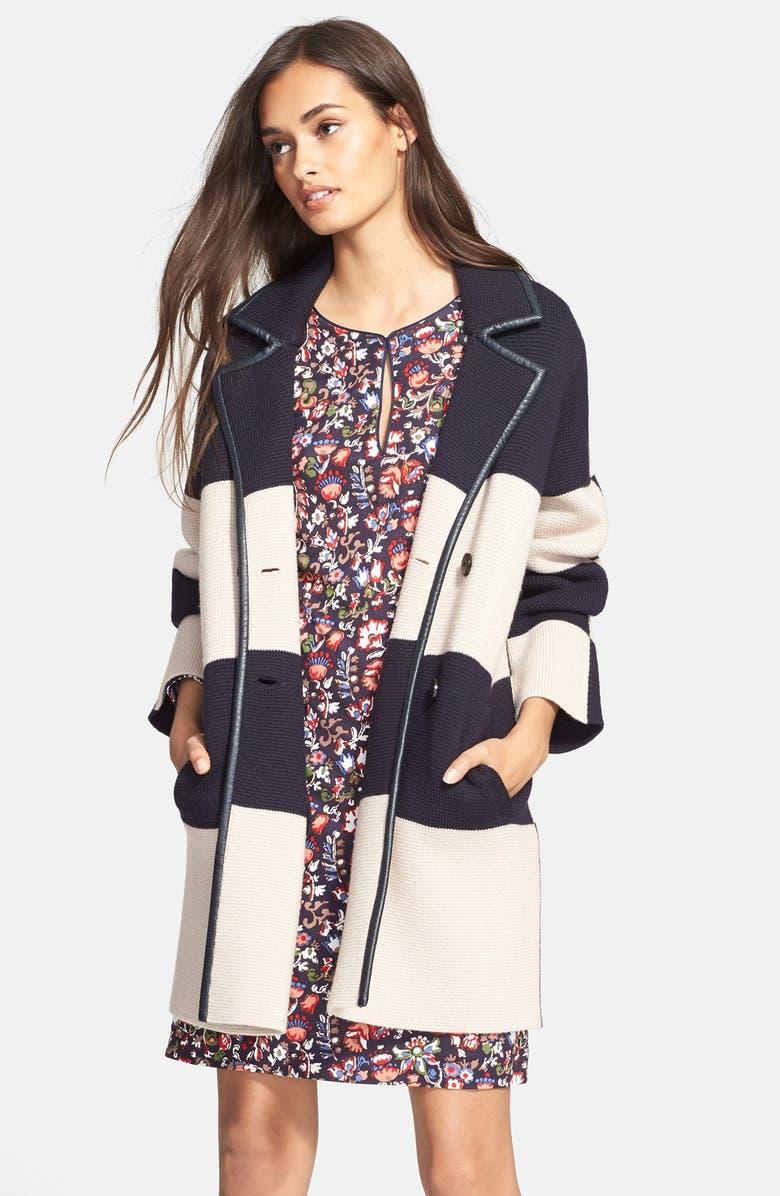 TORY BURCH Colorblock Heavyweight Merino Wool Coat, Main, color, 469