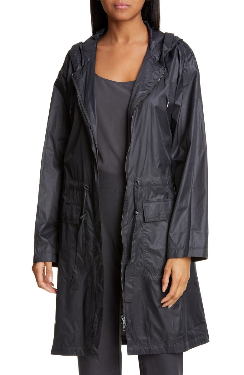 EILEEN FISHER Hooded Recycled Nylon Jacket, Main, color, 025