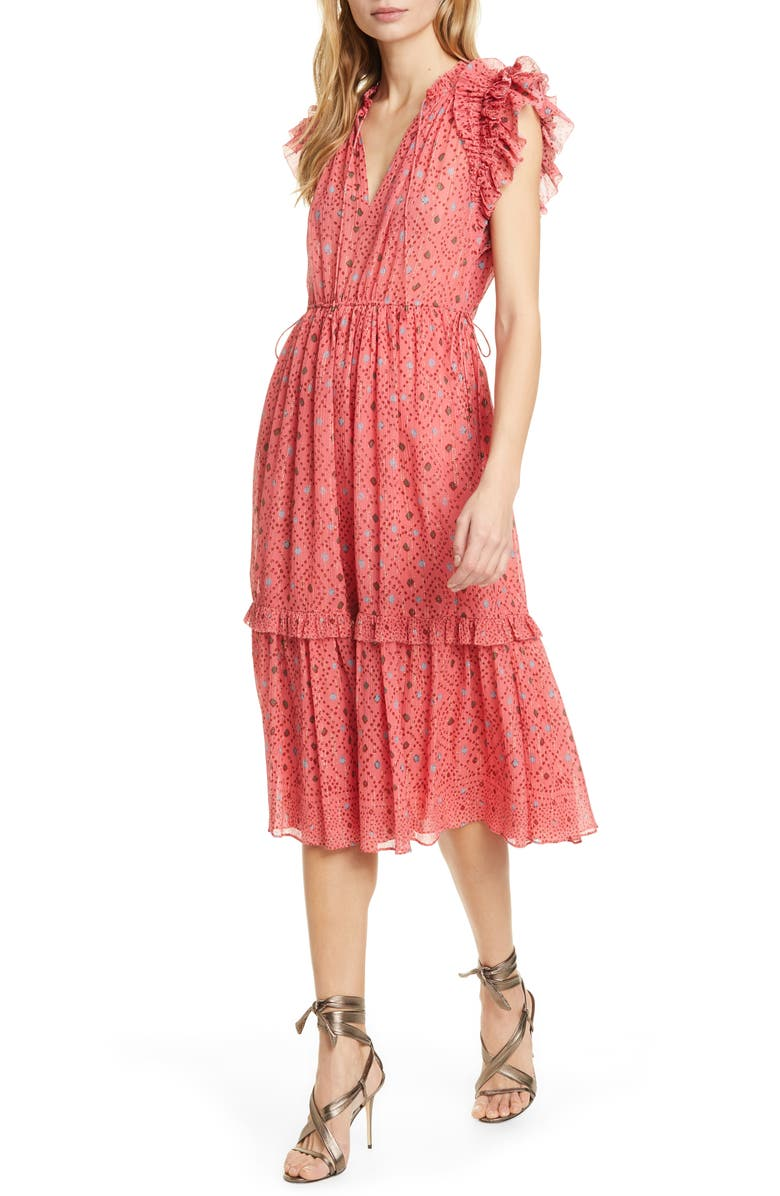 ULLA JOHNSON Linnea Metallic Geo Print Tiered Midi Dress, Main, color, HIBISCUS