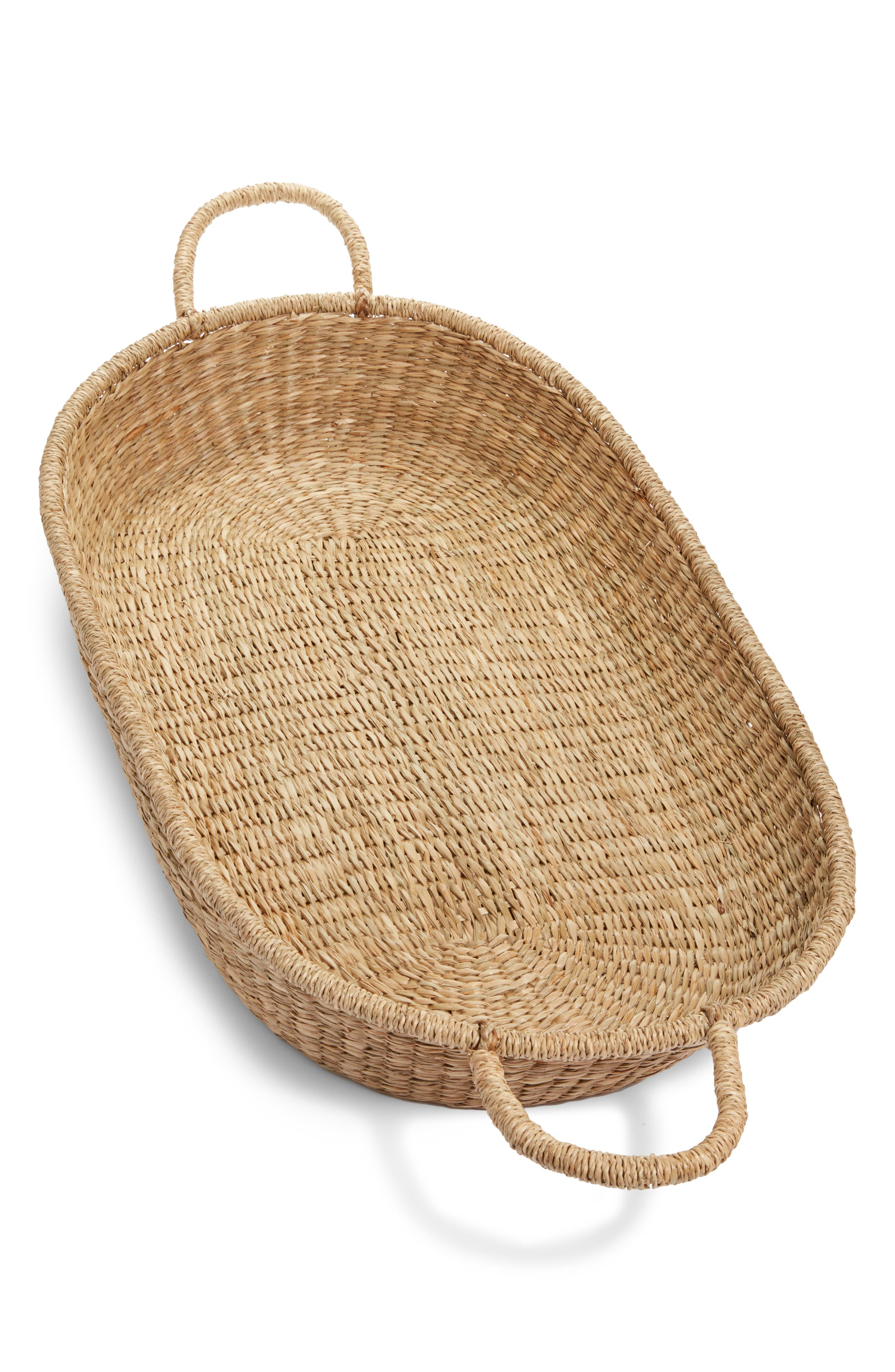 Infant Olli Ella Woven Rattan Changing Basket Size One Size  Brown