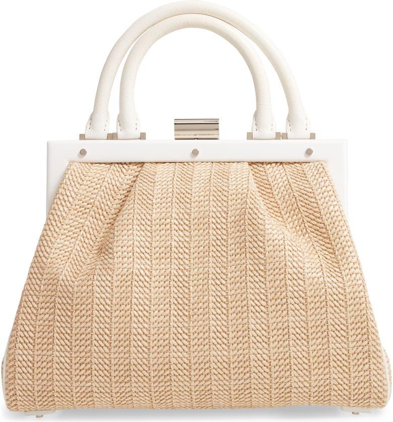 PERRIN Le Maxi Raffia Top Handle Bag, Main, color, RAFFIA/ WHITE